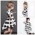 2016 nuevas muchachas visten europa princesa impresión del oso de los niños del vestido holgados algodón cabritos del vestido del verano Irregular de moda vestidos