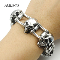 AMUMIU 23MM Wide Skull Strand Bracelet Men Cool Solid Stainless Steel Punk Bicycle Chain Men S