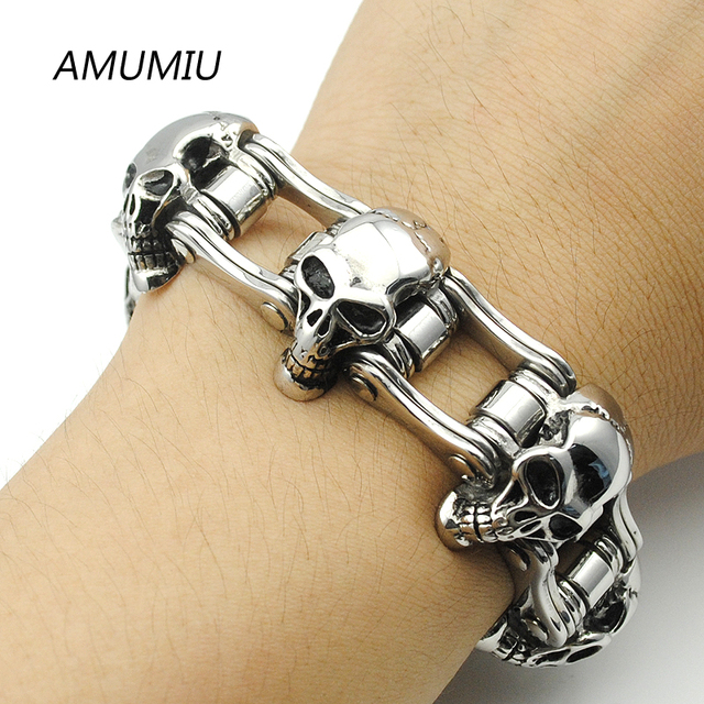 AMUMIU 23MM Wide Skull Strand Bracelet Men Cool Solid Stainless Steel Punk Bicycle Chain Men's Bracelets Biker Jewelry HZB013