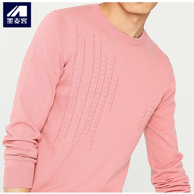 bb26875edd2 Mmaicco men pink pullover autumn knitted sweater korean slim fit inside long  sleeve top male round