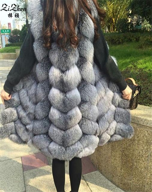 New Winter Genuine Silver Fox Fur Vest Women's Full Pelt Long Gilet Warm Luxury Real Natural Fox Fur Waistcoat Pockets 170208-1