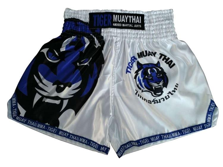 MMA fight short tiger MUAY THAI SHORTS man bottom white/blue M L XL XXL цена