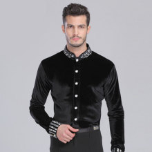 Latin Dance Top Man 165 180cm Ballroom Dance Shirt Black Spandex Velvet Drill Men Dance Shirt