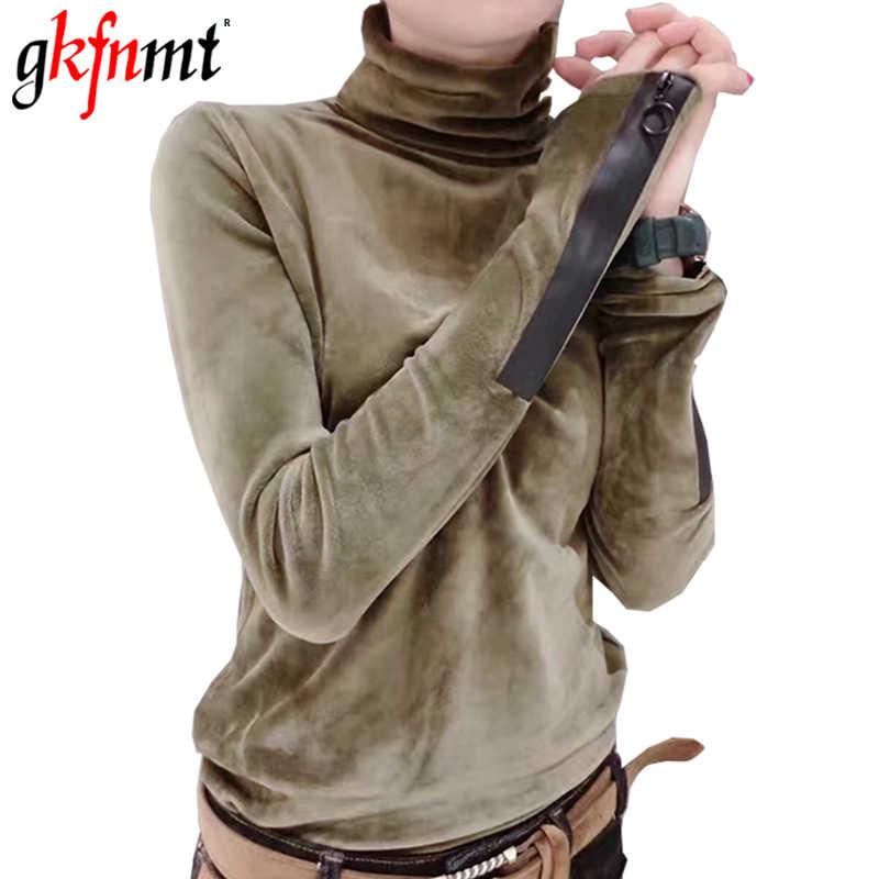 Женская футболка gkfnmt, Осень-зима 2018, женские топы, армейский зеленый цвет, длинный рукав, бархатная футболка, женская футболка с высоким воротом, женские футболки