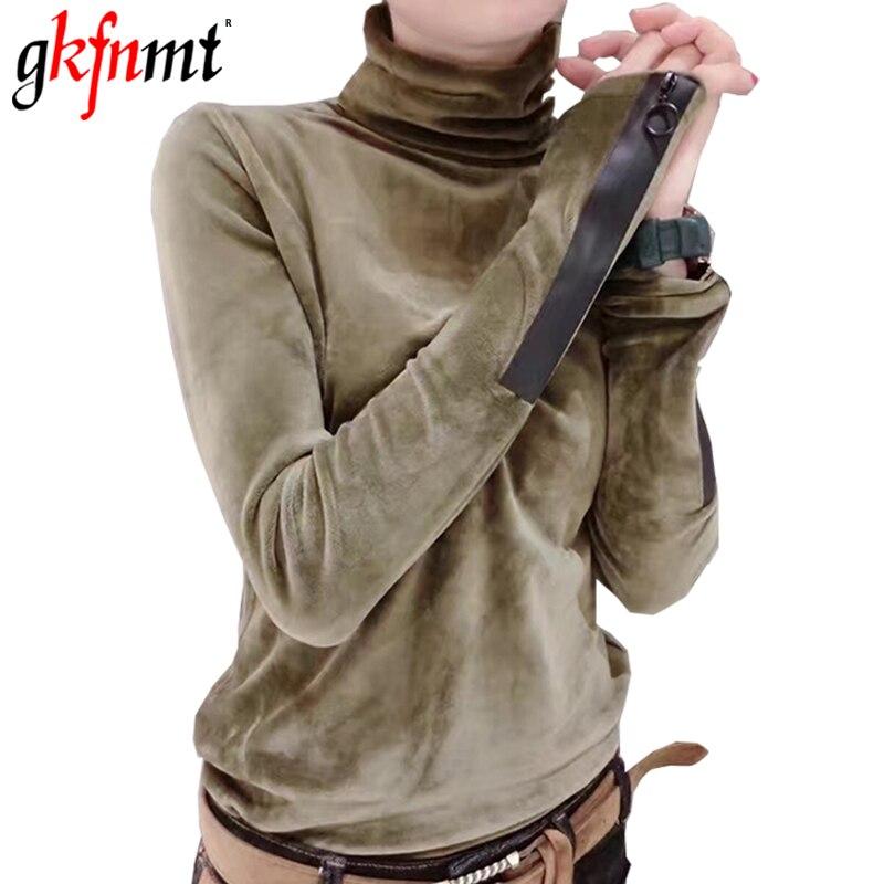 Gkfnmt T Shirt Women Autumn Winter 2018 Womens Tops Army Green Long Sleeve Velvet T-shirt Womens Turtleneck Tee Shirts Femme