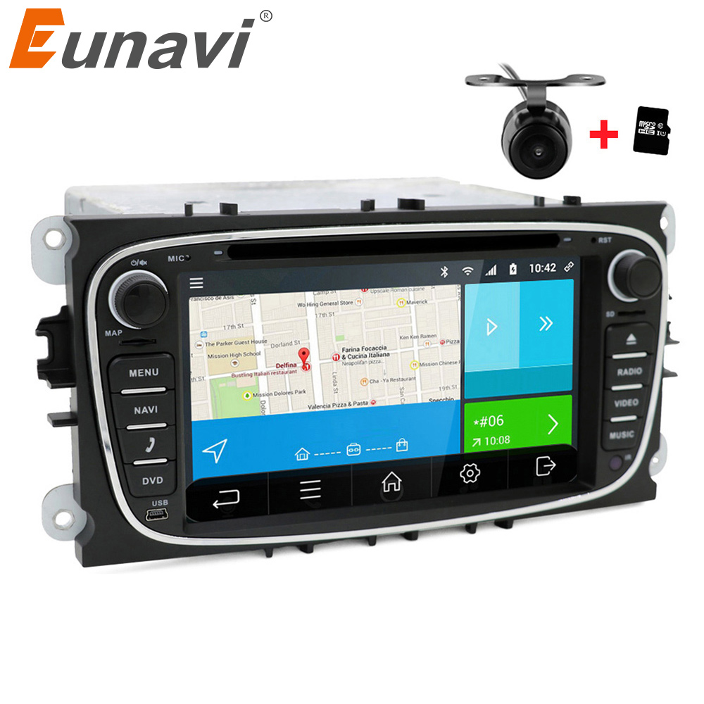 Eunavi 2 din Android 6.0 Quad Core Car DVD Player GPS Navi for Ford Focus Galaxy with Audio Radio Stereo wifi Head Unit 1024*600 2 din quad core android 4 4 dvd плеер автомобиля для toyota corolla camry rav4 previa vios hilux прадо terios gps navi радио mp3 wi fi