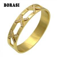 העיצוב האחרון תכשיטים מפוארים X צמידי צלב CZ ריינסטון סלול קאף תכשיטי זהב צבע אופנה יד צמיד לנשים