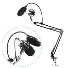 Ituf Professional Microphone Suspension Boom Scissor Arm Stand & Metal Shock Mount + Pop Filter for Condenser