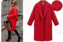 303873b3218c 2017 Fashion women autumn winter coat outwear thicken wool coat long jacket  plus size red,