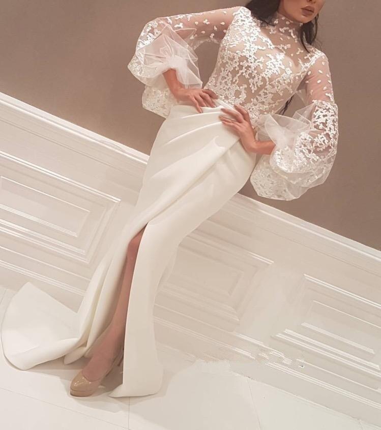 Великолепный кружевной белый/слоновой кости атласное с юбкой русалкой Выпускные платья с высоким вырезом и длинными рукавами 2018 халат De