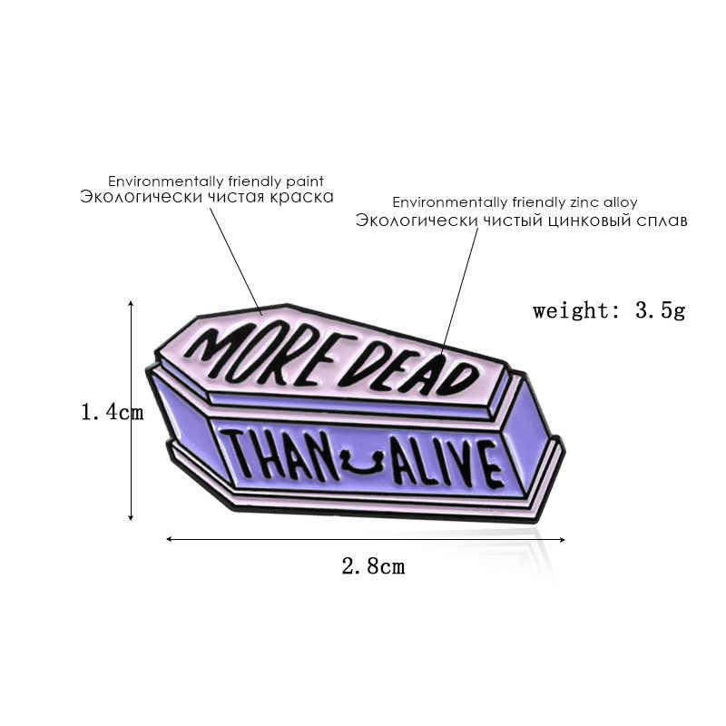 Kartun Lencana Lebih Mati Bros untuk Wanita Punk Ungu Peti Mati Pin Perhiasan Enamel Pin Pakaian Ransel Perhiasan Aksesoris Hadiah