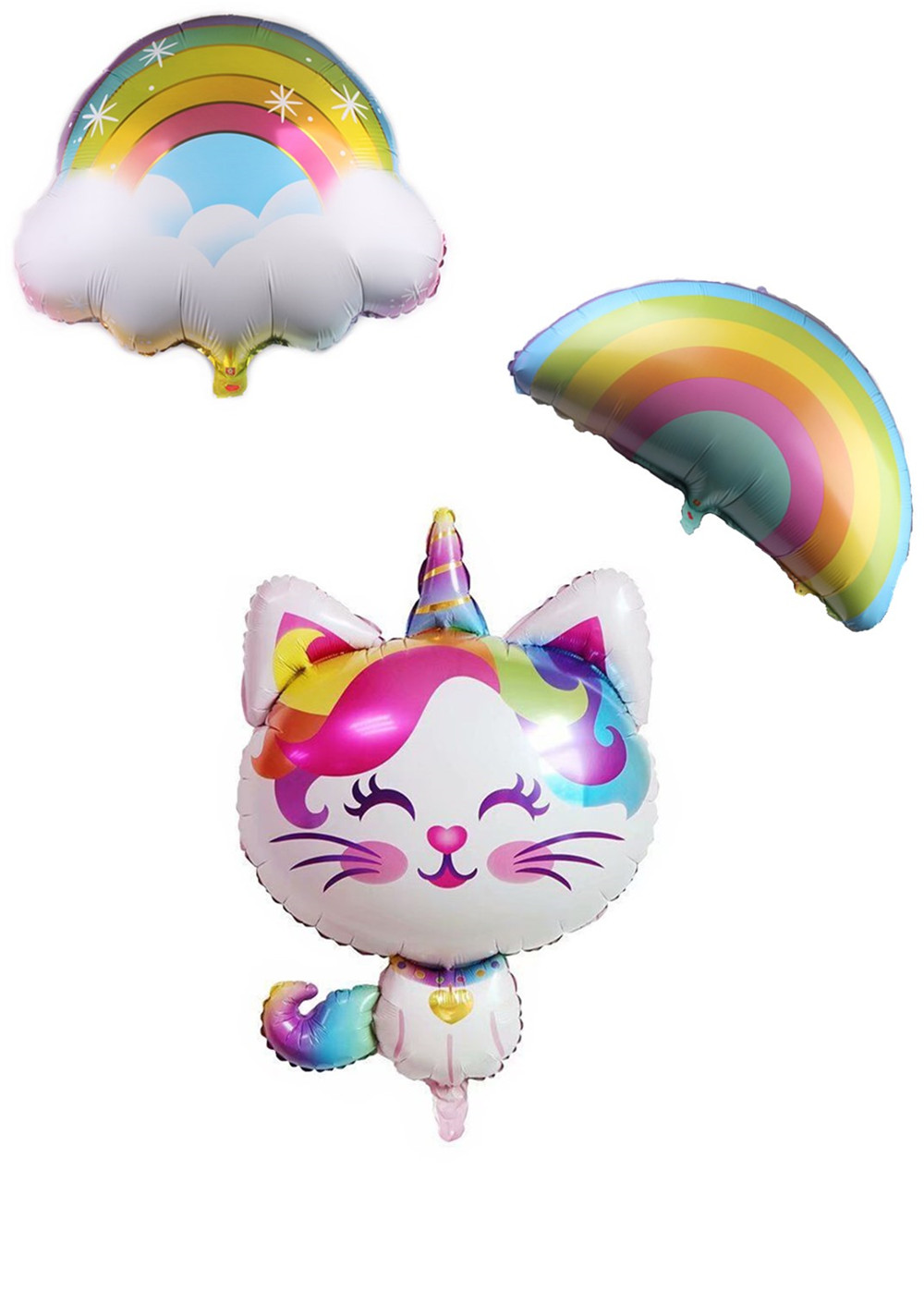 Cartoon Hat Cute Rainbow Unicorn Cat Balloon  Party Decoration Foil Balloons Animal Theme Baby Girl Party Supplies Toy Hat