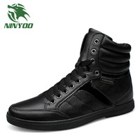 NINYOO 2016 New Men S Black Boots Genuine Leather Fashion Winter Boots Men Wearproof Shoes Ankle