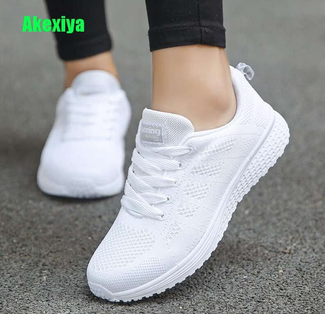 2b0bb2f75 Akexiya Fast Delivery Women Casual Shoes Fashion Breathable Walking Mesh  Lace up Flat Shoes Sneakers Women 2019 Tenis Feminino