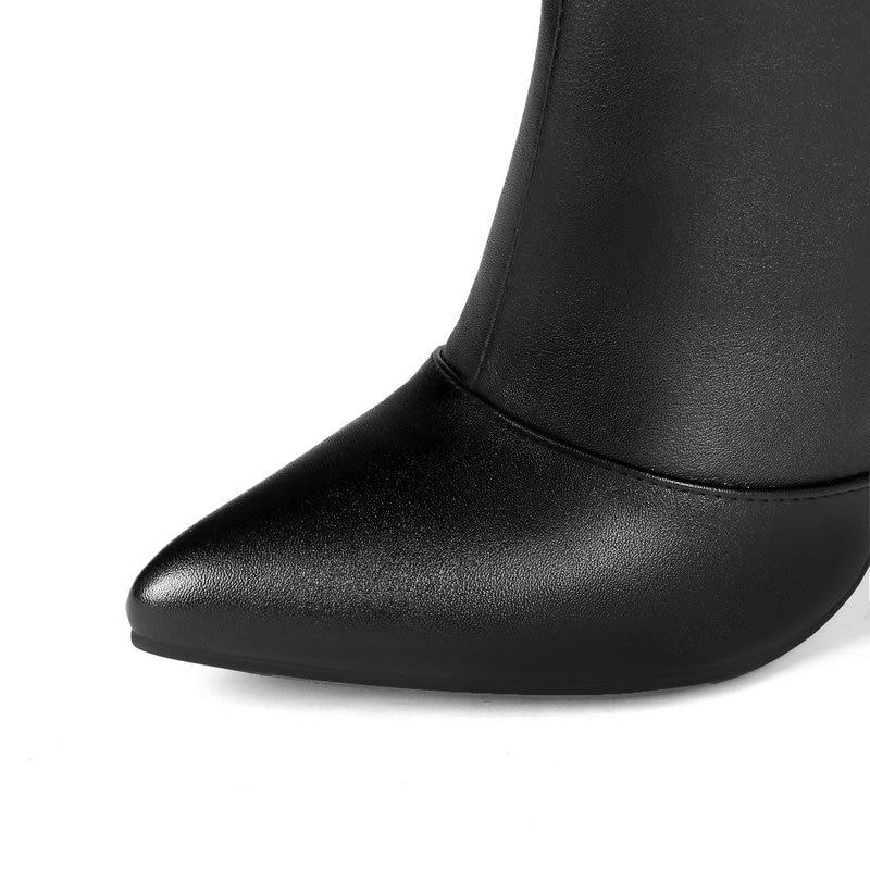 Patent Sobre Thin rojo pu Zapatos 43 Sexy Botas La Club Patente Boots12cm De Rodilla Del Mujer Tamaño Heels Señoras Mujeres Grande Cuero Nuevas High qzB1XgX