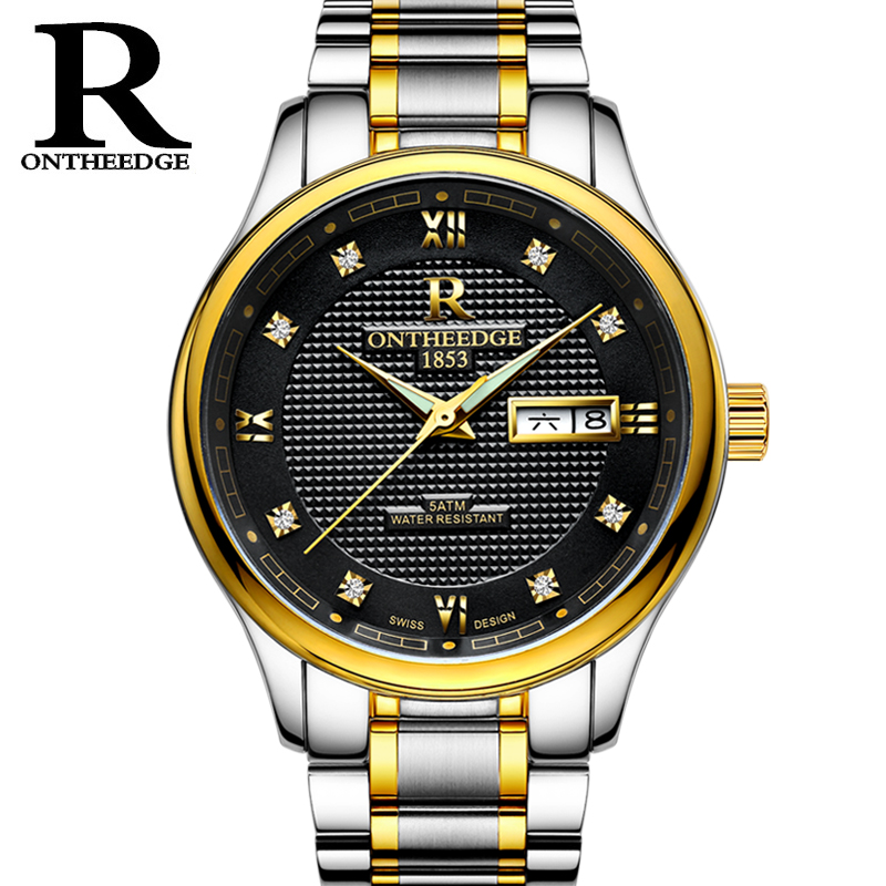 ONTHEEDGE 316L Mens Watches Top Brand Luxury Automatic Mechanical Watch Men Full Steel Business Waterproof Sport Watches Relogio unique smooth case pocket watch mechanical automatic watches with pendant chain necklace men women gift relogio de bolso