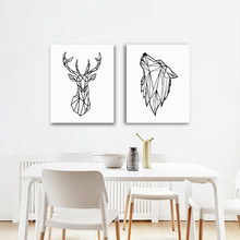 Geometric Animals Wolf Canvas Painting Wall Art Picture , Minimalist Deer Head Canvas Print Home Modern Art Wall Decor(China)