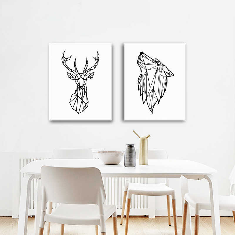Geometric Animals Wolf Canvas Painting Wall Art Picture , Minimalist Deer Head Canvas Print Home Modern Art Wall Decor