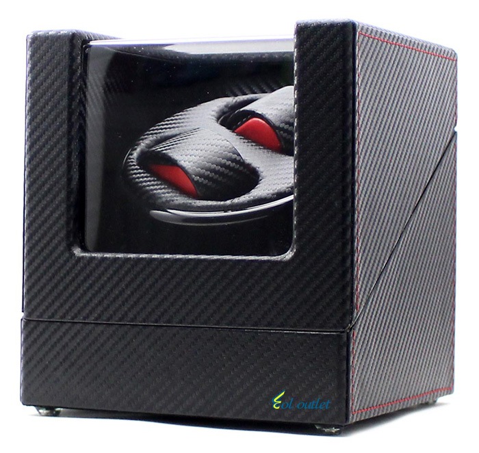 High-end Ultra Quiet Carbon Fiber Watch Winder for 2 Automatic Watches new arrival black color carbon fibre wood watch winder german ultra quiet 5 modes watch winder