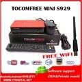 Tocomfree mini S929 + 1 pc wifi usb receptor de satélite digital fta Full HD DVB S/S2 Sintonizador duplo IKS SKS para América Do Sul