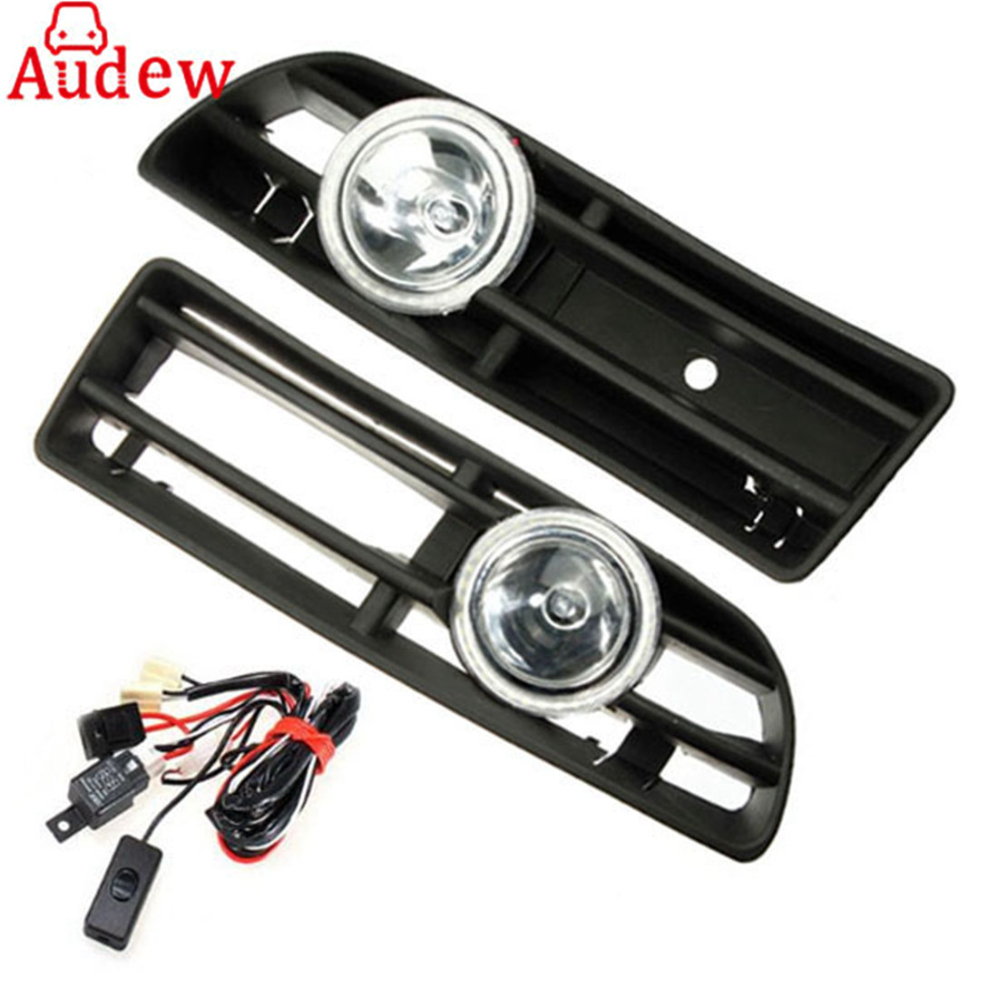 2Pcs Car Fog Light Lamp Angel eyes Auto Accessories With Racing Grille With Wire for VW Bora 1998-2002 front bumper fog lamp grille led convex lens fog light angel eyes for vw polo 2001 2002 2003 2004 2005 drl car accessory p364