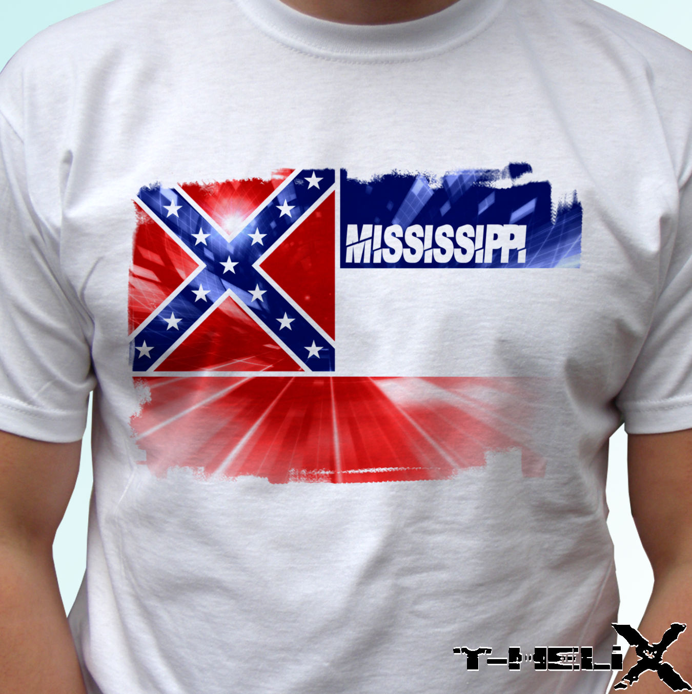 2019 New Cool Short Sleeve Men T Shirt Mississippi Flag