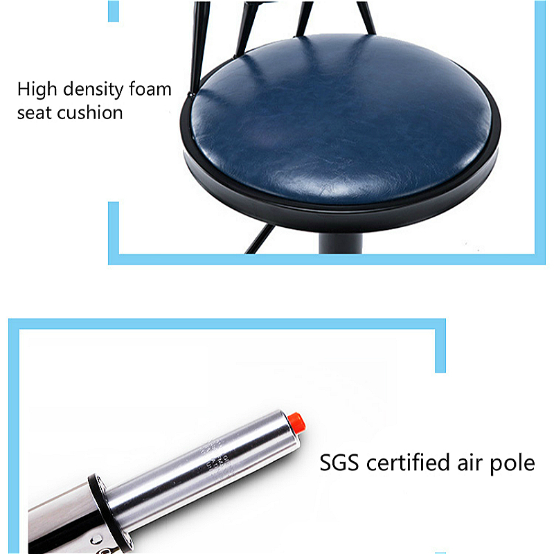 European Style Iron Bar Chair Lifted Rotated Retro Printing High Stool with Backrest Multi-purpose PU Seat Front Desk Chair