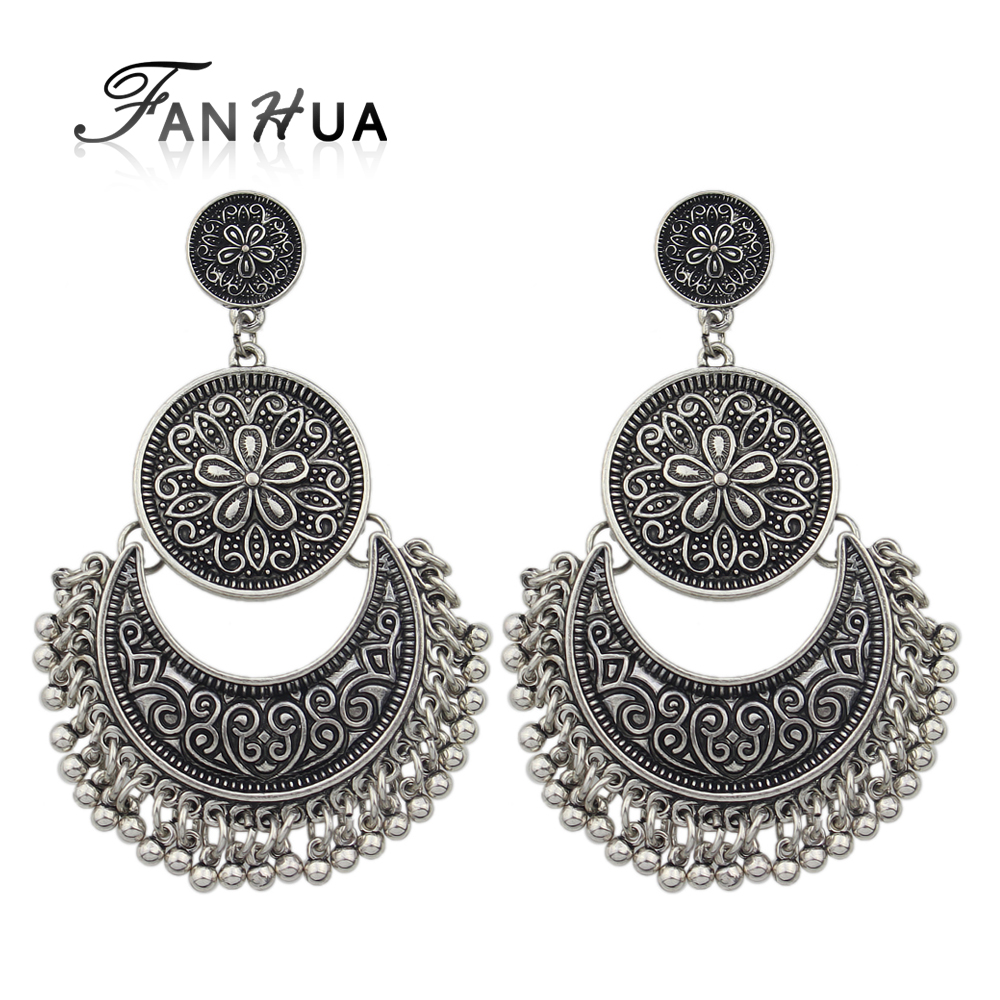 Fanhua Jewelry Chandelier Earrings Antique Gold Color Silver Big Geometric Ethnic Statement Fashion Accessories In Drop From