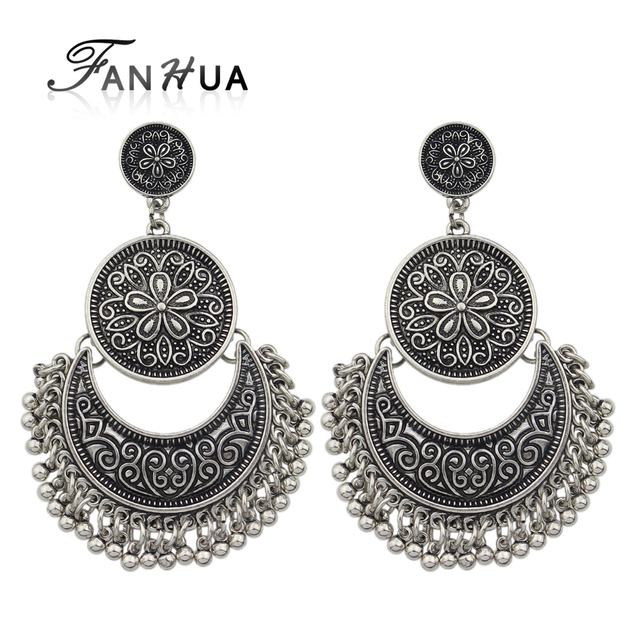 FANHUA Jewelry Chandelier Earrings Antique Gold-Color Silver Color Big  Geometric Ethnic Statement Earrings Fashion - FANHUA Jewelry Chandelier Earrings Antique Gold Color Silver Color