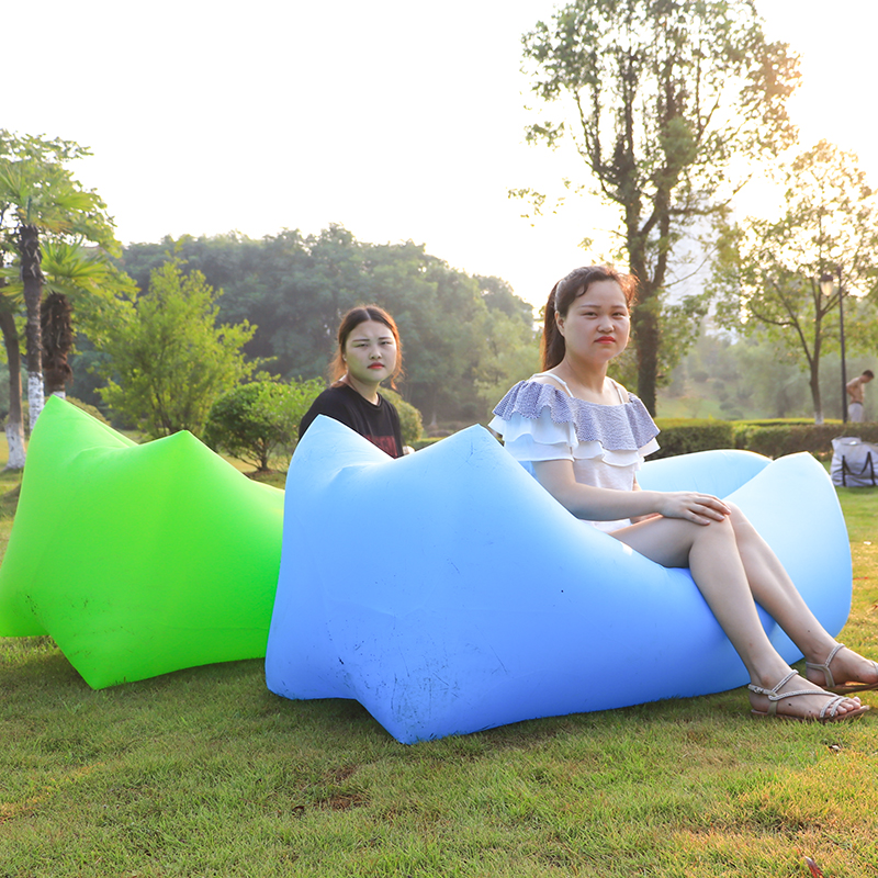 Fast Inflatable Lazy Bag Air Sofa Banana Nylon Lay Bag Camping Lazy Sofa Bed Pad Portable Beach Bed Mat Air Lounge Chair Lounger