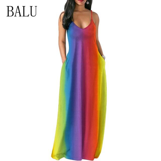 7dd50027cac4 BALU Tie Dye Rainbow Print Long Dress Women Straps V Neck Sleeveless  Pockets Boho Maxi Dress Summer Beach Dresses Party Vestidos