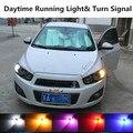 Para chevrolet aveo de sonic 2008-2015 acessórios drl daytime running light & turn signal luz lembrar lâmpada de xenônio branco + âmbar