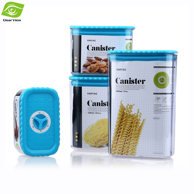 4pcs Canister Set Sealed Plastic Kitchen Canisters With Rotary Button For  Dry Food Fresh Blue/