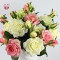 15 Шт. (10 или 5 шт. также можно купить) Главная/Свадебные Украшения Цветы Двуглавый реальное Соприкосновение Качества Искусственные Цветы Розы