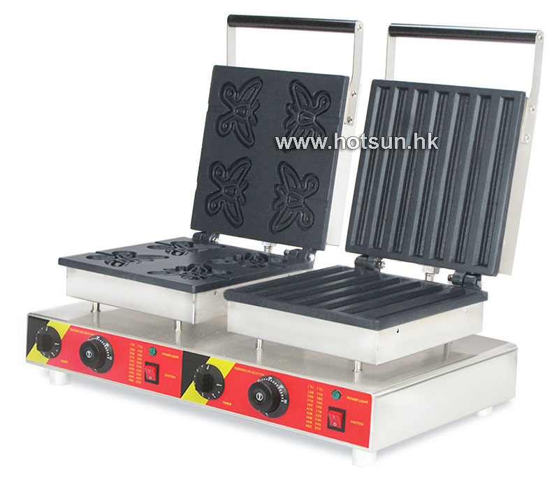 Free Shipping Commercial Non-stick 110V 220V Electric 2 in 1 Butterfly Waffle Stick + Churro Maker Machine