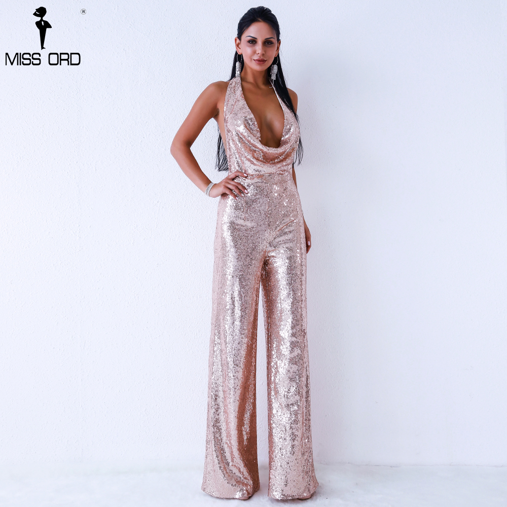 Missord 2019 Sexy deep v off shoulder sleeveless backless sequin   jumpsuit   FT9394