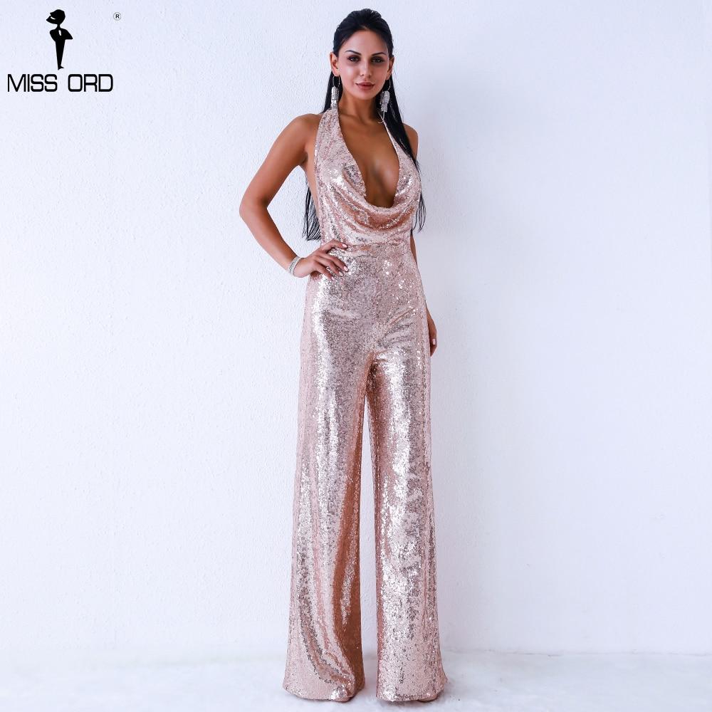 Missord 2019 Sexy deep v off shoulder sleeveless backless sequin   jumpsuit   FT9394