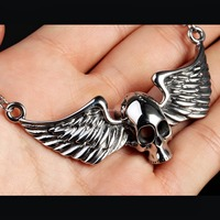 Heavy Hip Hop Jewelry Cool Silver Black 316L Stainless Steel Men S Skull Biker Pendant Jewelry