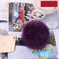 10CM fur pompom key chains porte clef fourrure Rabbit fur ball keychain llavero pom pom keychain key ring sleutelhanger ring