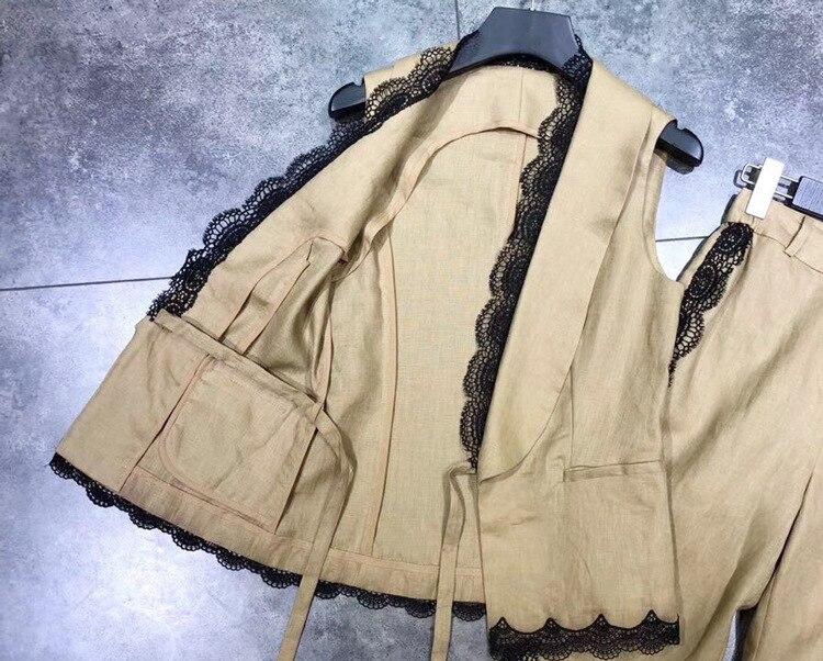 Patchwork Costume Cou De Mode Blouse Pièce Pantalon 2 Jambe 2018 Femmes Baissez Piste Dentelle D'été Noir Tops Large Set S40qgFAw