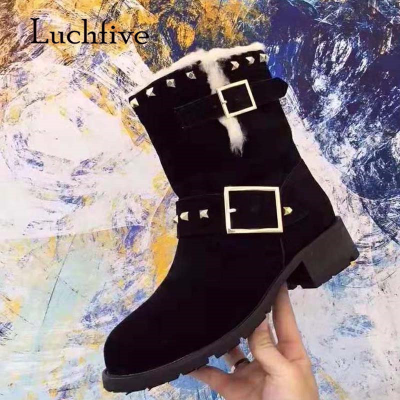 2018 Chic Snow Boots Women Round Toe Rivet Buckle Wool Fur Real Suede Heel Boots Lady Ankle Boots Winter For Women chic rivet embellished pink sunglasses for women