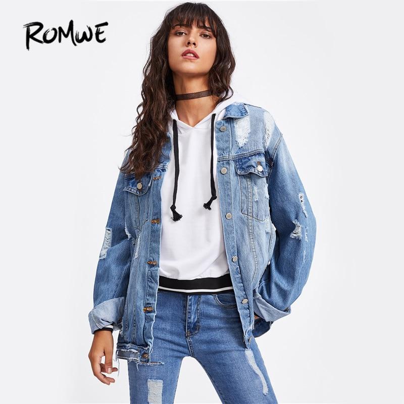 ROMWE Ripped Denim Jacket Coat Punk Style Women Bleach Wash Single Breasted Jean Jackets  Casual Long Sleeve Lapel Jacket denim