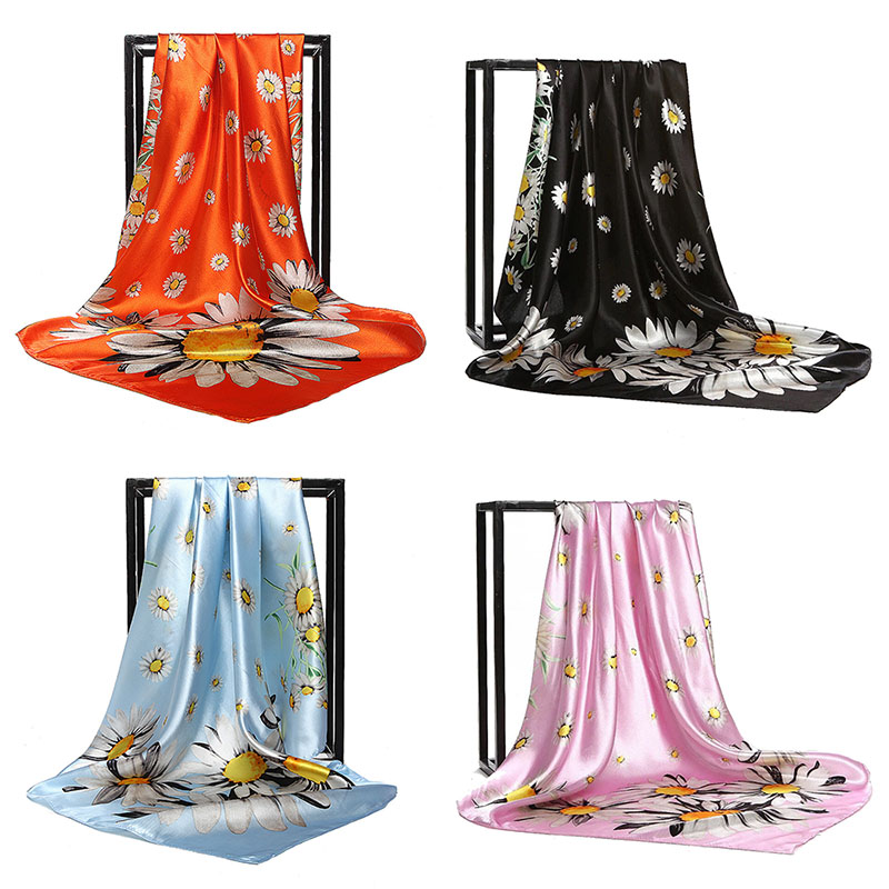 summer hot   scarf   painting Flower 90*90 Printed Leopard square   scarf   satin silk   scarves     wraps   Foulard woman kerchief 40 styles