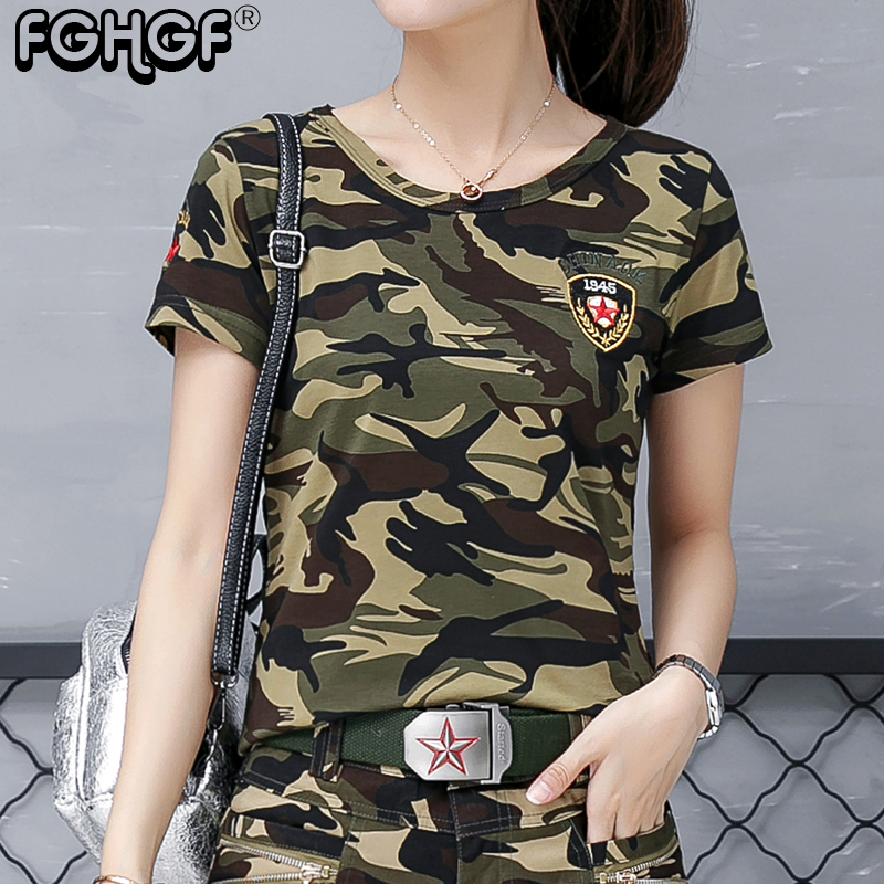 women T shirts camouflage Casual T-shirts women 2018 New summer Military Cotton fashion tops O-Neck Female Slim Top 1904