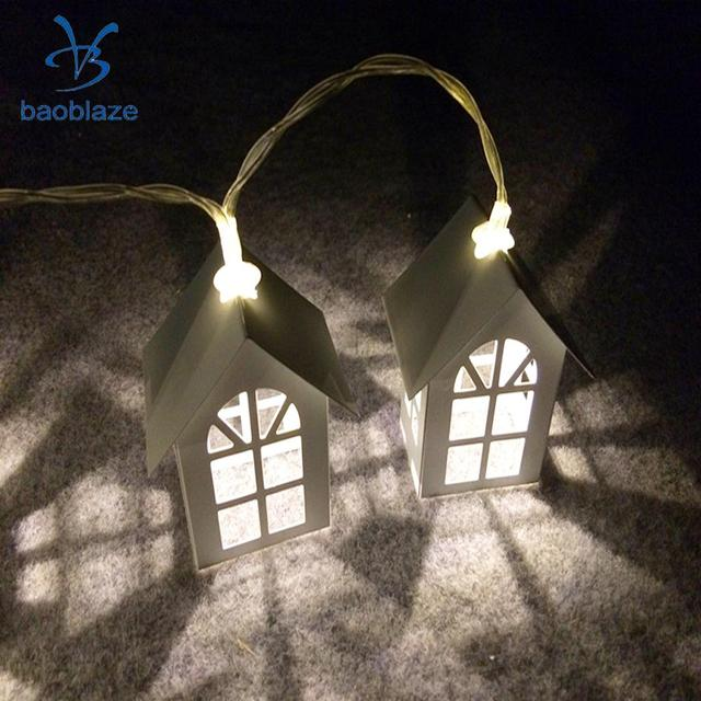 Baoblaze 10 Led Battery Operated Home Diwali House Shape String Lamp Fairy Light For Living