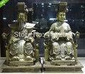 Chinese Messing Kupfer Taoismus Königin Mutter Jade Kaiserin Gott des Himmels Statue Pair|statues aphrodite|statue womanstatues gods -