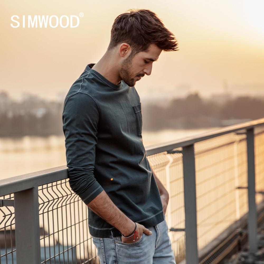 SIMWOOD 2019 Spring New Long Sleeve   T  -  shirt   Men 100% Cotton Solid   t     shirt   Plus Size High Quality Brand Clothing 190130