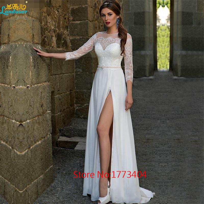 Simple Wedding Dresses With Sleeves: 2017 Simple White High Slit Chiffon Beach Wedding Dresses