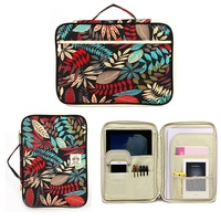 Large Capacity Leaves Print Multifunctional A4 Documents Storage Bag Ziper Waterproof Briefcase Hand Bag For Ipad