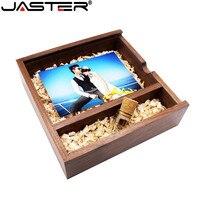 JASTER 205*205*60mm Photo Album Wooden USB + Box usb flash drive Pendrive 4GB 8GB 16GB 32GB custom LOGO Photography Wedding GI